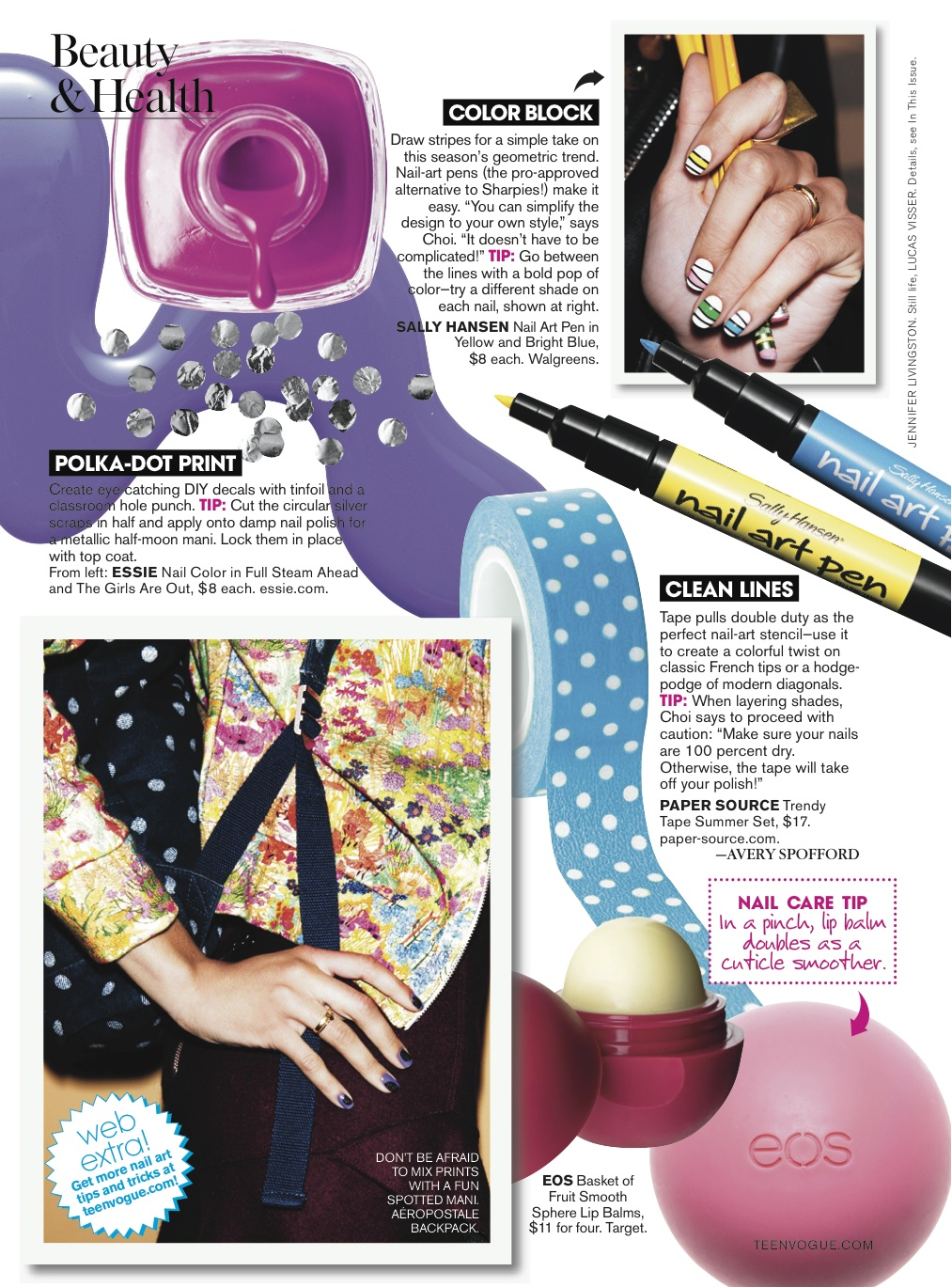 Teen Vogue: Beauty: Nail Files – Avery Spofford